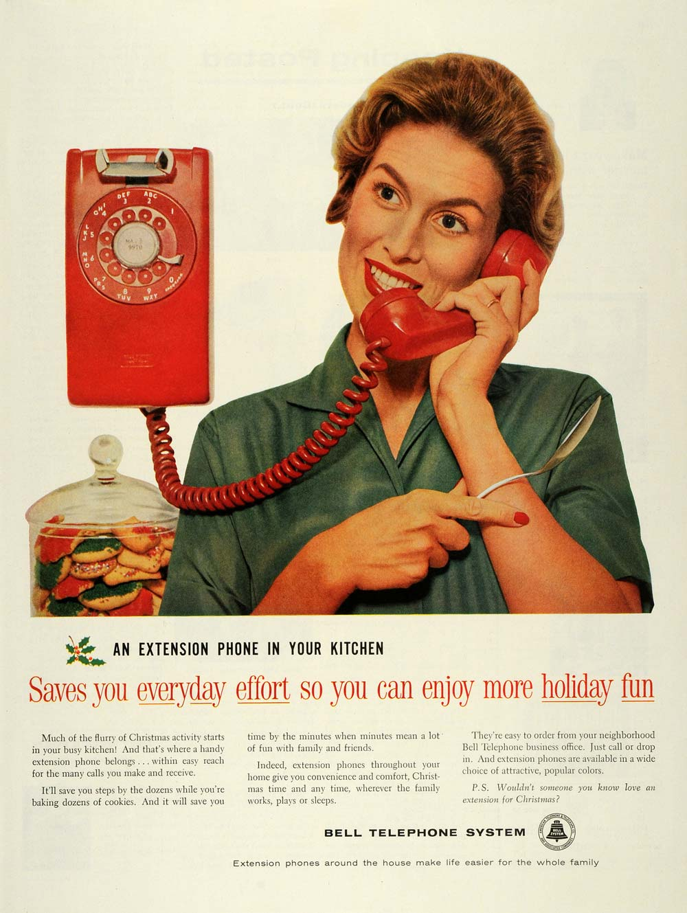 Kitchen Extension Phone Vintage Print Ad 1959 Bell Telephone