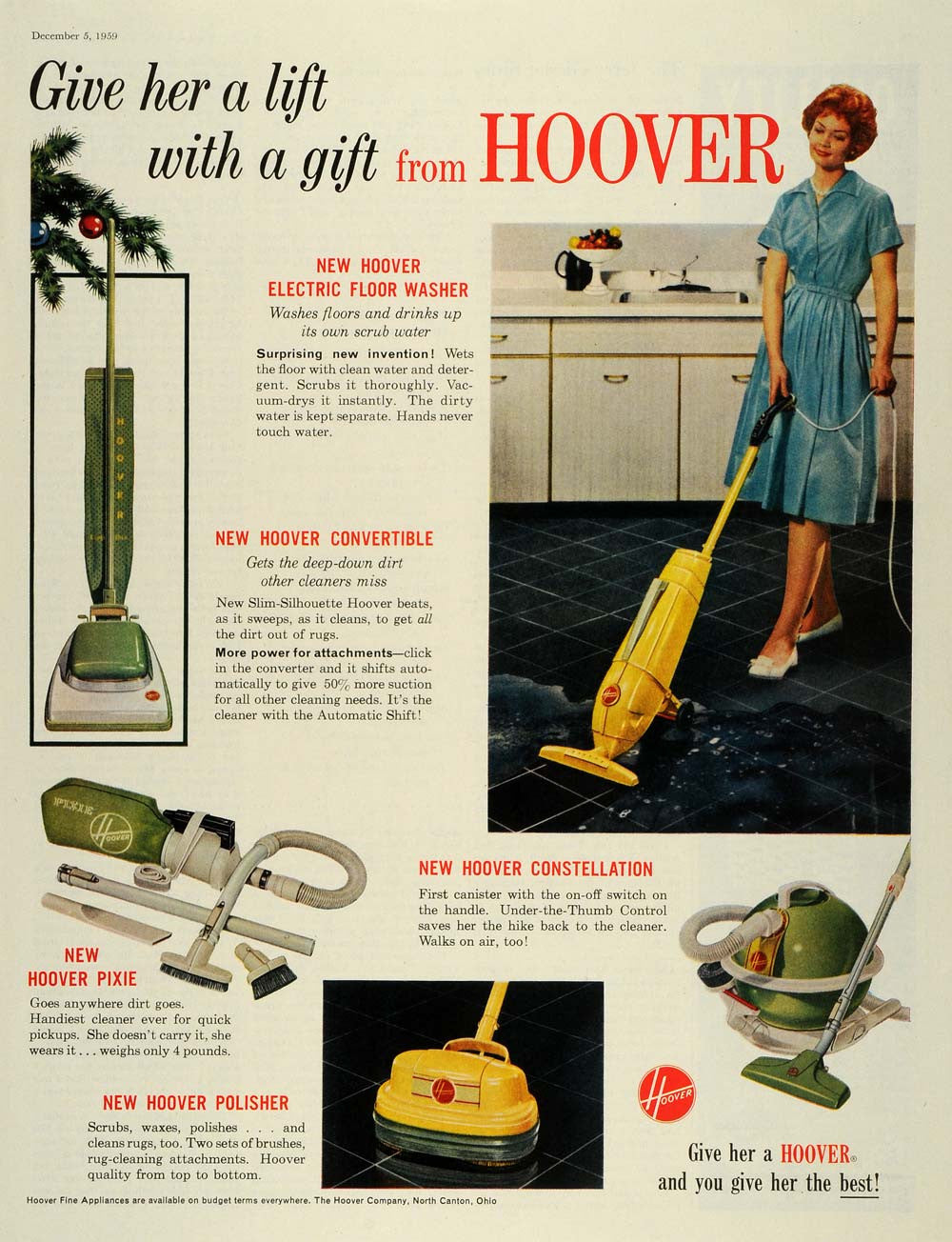 1959 Ad Hoover Electric Floor Washer Convertible Constellation Pixie SEP5