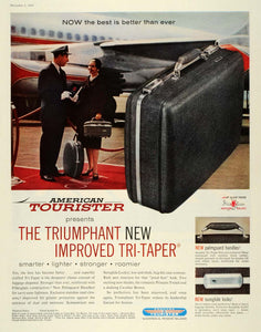 1959 Ad American Tourister Tri-Taper Suitcase Luggage Baggage Palmguard SEP5