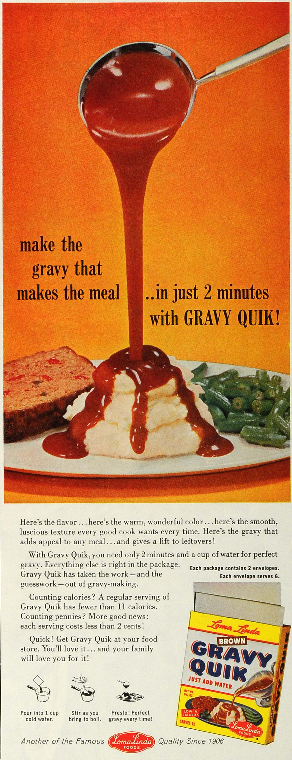 1959 Ad Loma Linda Foods Brown Gravy Quik Product Meal Green Beans Mash SEP5