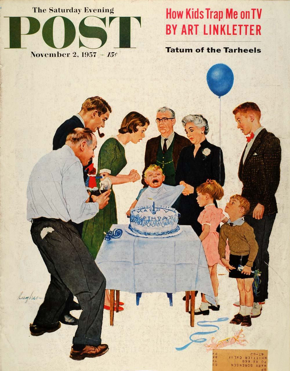 1957 Cover Saturday Evening Post Child First Birthday Crying Tantrum Hughes SEP5