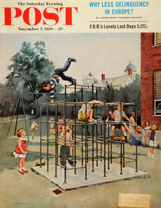 1959 Cover Saturday Evening Post Jungle Gym Acrobatics Suitor George Hughes SEP5