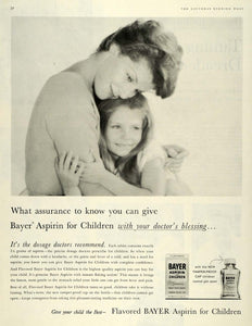1959 Ad Flavored Children Bayer Aspirin Mother Doctor Pain Relief Medical SEP5