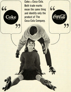 1964 Ad Coca Cola Coke Bottle Soda Pop Logo Trademark Roller Skating Couple SEP5