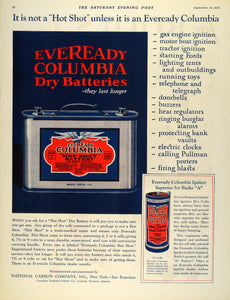 1925 Ad Eveready Columbia Dry Battery Hot Shot National Carbon Ignitor Dry SEP5