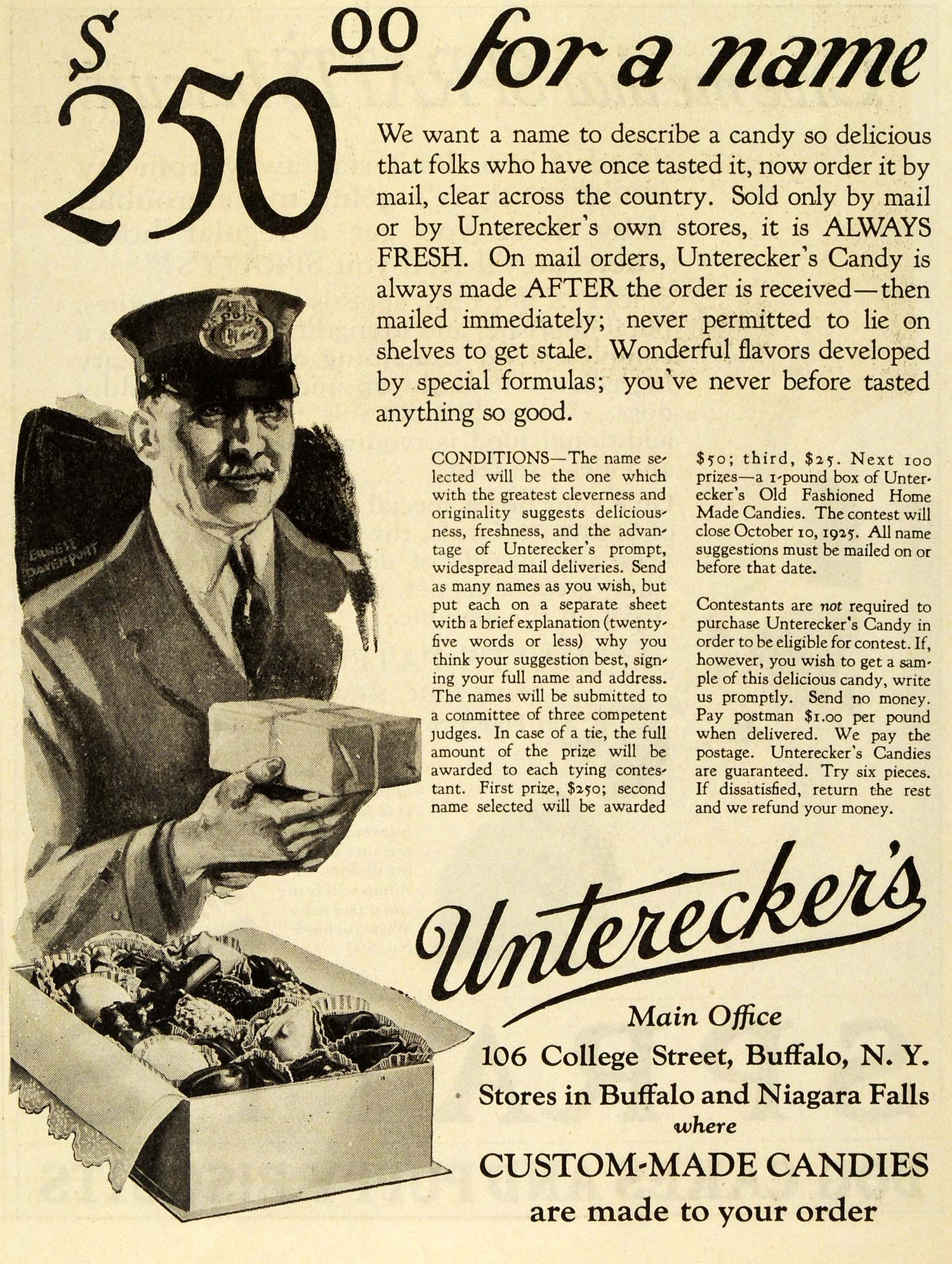 1925 Ad Untereckers Custom Made Candies Chocolate Box 106 College Street SEP5