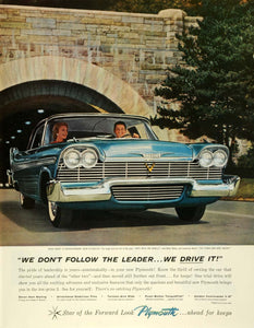 1957 Ad Plymouth Chrysler Corp Automobiles Belvedere Vintage Bridge Car SEP6
