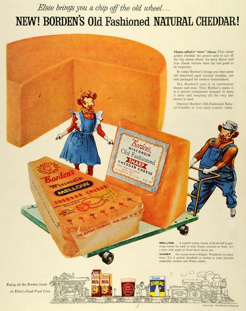 1955 Ad Borden Co Cows Cartoons Wisconsiin Mellow Cheddar Cheese Sharp SEP6