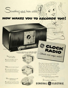 1953 Ad General Electric Logo G-E Clock-Radio Electronics Model 546 Music SEP6