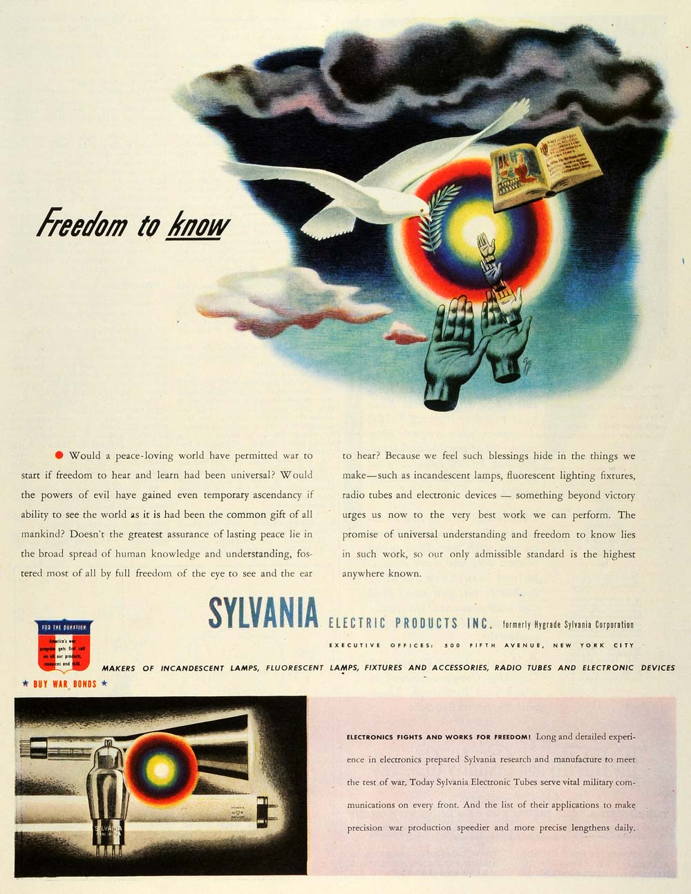 1943 Ad Sylvania Electric WWII War Production Peace Dove Lighting SEP6