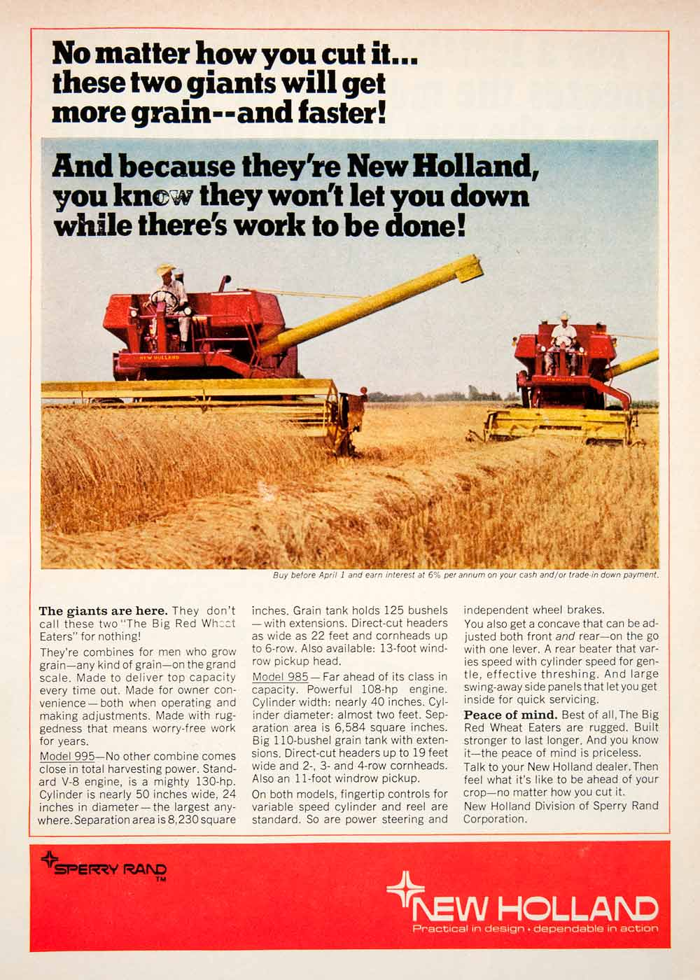 1968 Ad Sperry Rand New Holland Combine Model 995 985 Agriculture Farming SF1