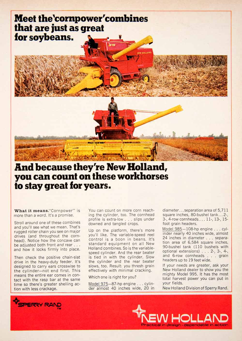 1969 Ad New Holland Sperry Rand Model 975 985 Soybean Farming Agriculture SF1