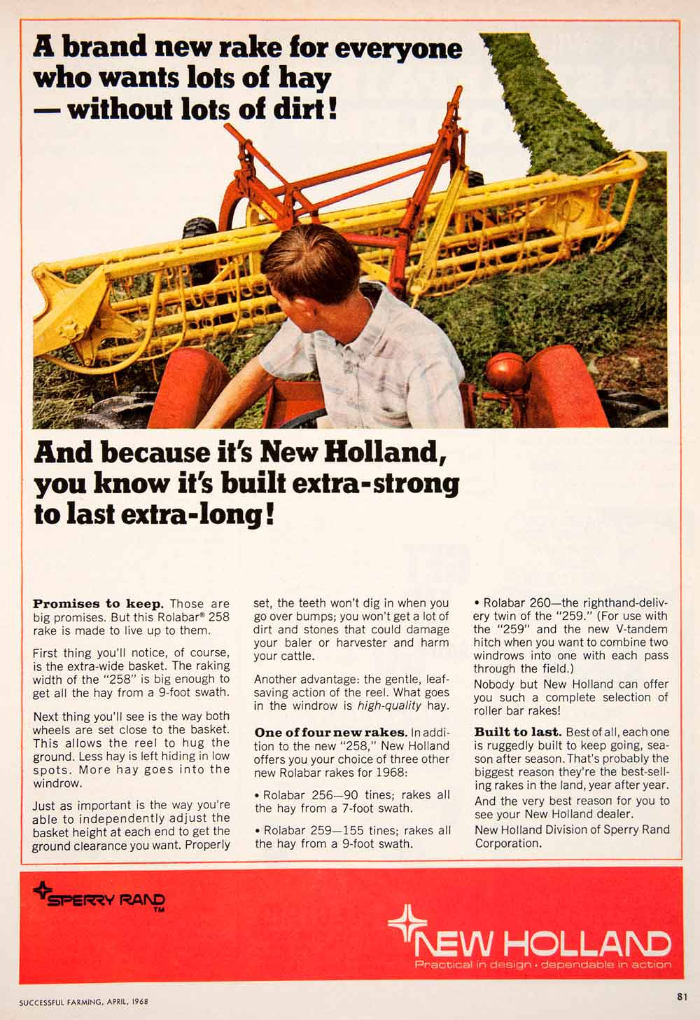1968 Ad New Holland Sperry Rand Hay Rolabar 258 Farming Machine SF1