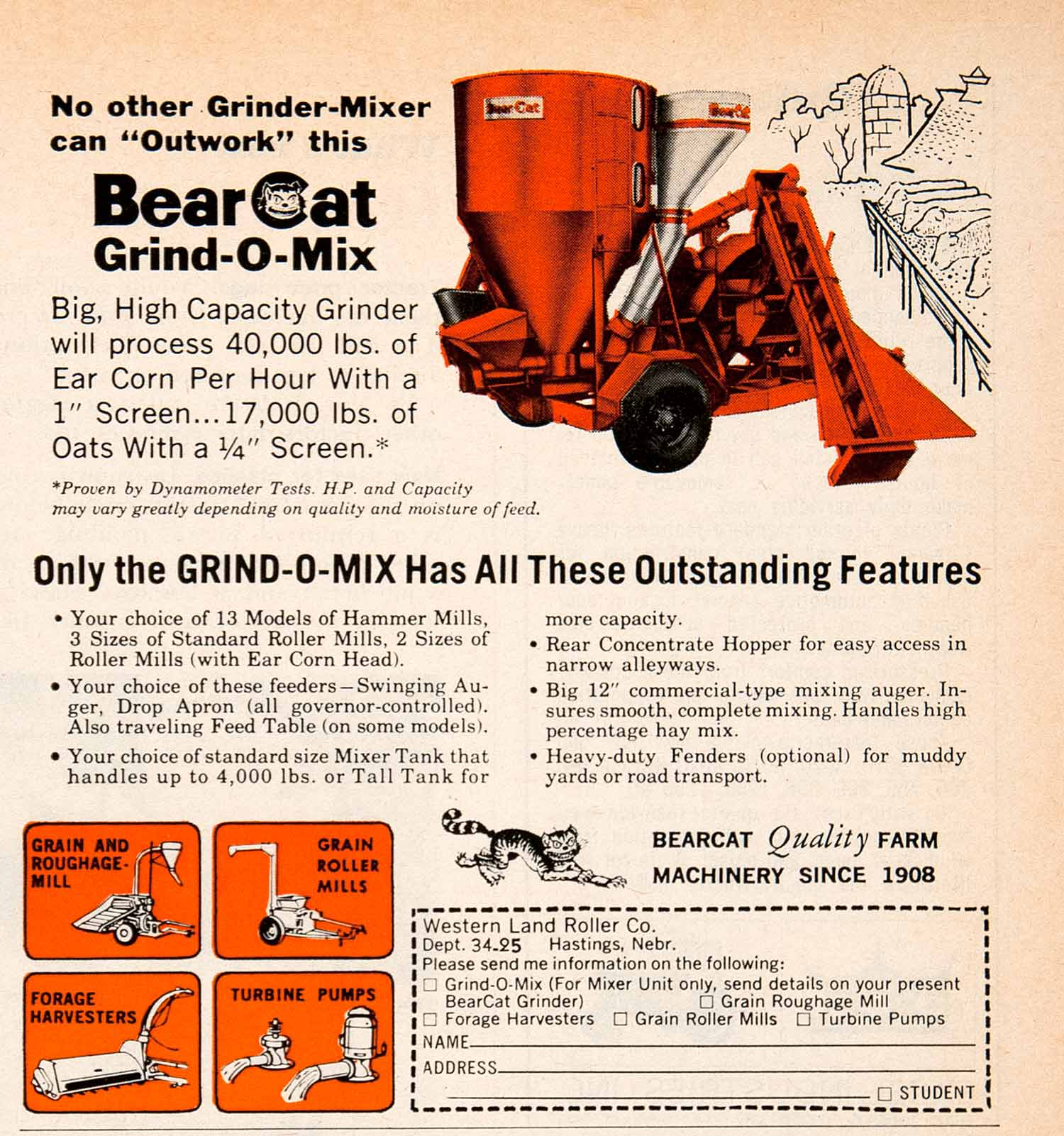 1968 Ad Bearcat Grind-o-Mix Farm Machinery Grinder Western Land Roller SF2