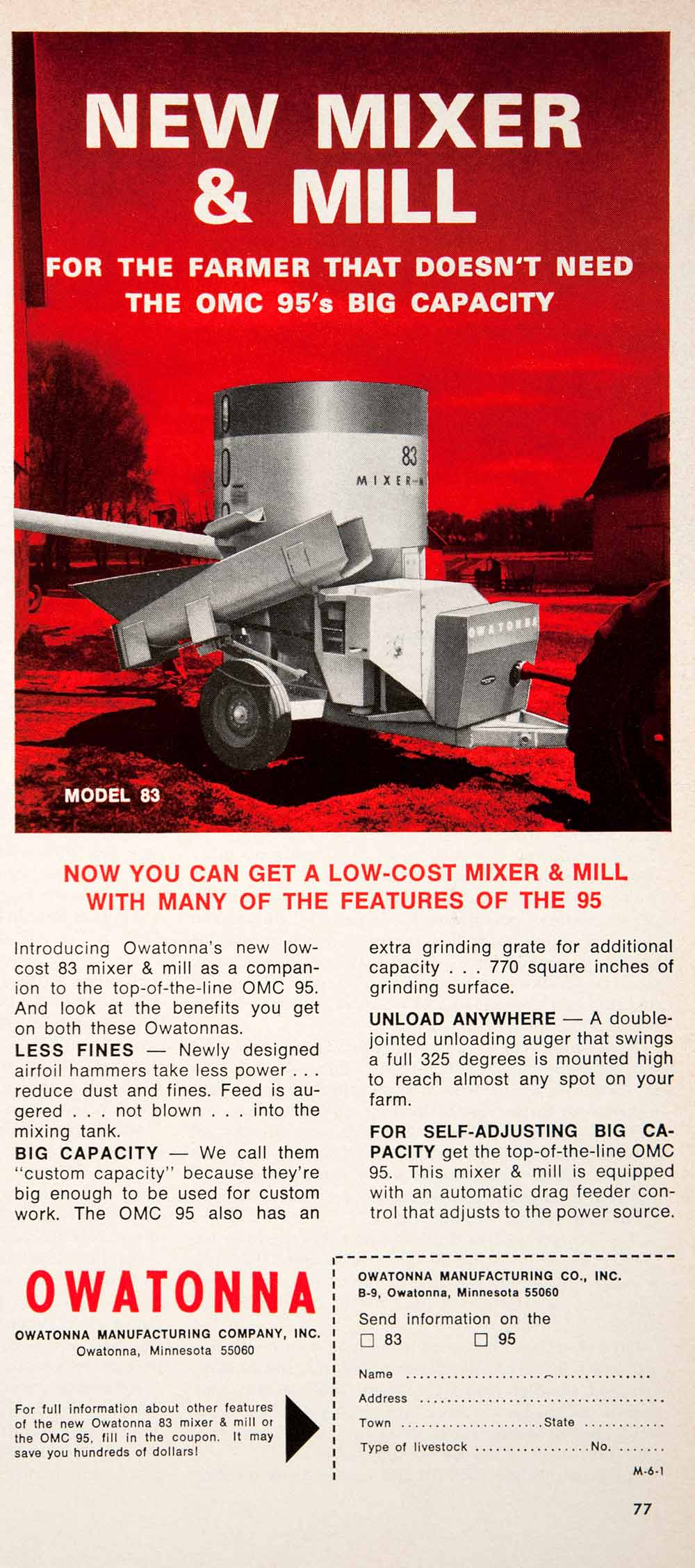 1966 Ad Owatonna Model 83 Mixer Mill Agriculture Farming Machinery Equipment SF2