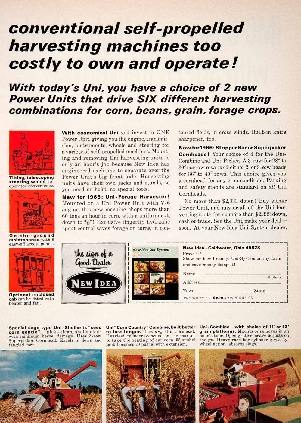 1966 Ad Avco Uni Sheller Combine Harvesting Forage Farming Machine SF2