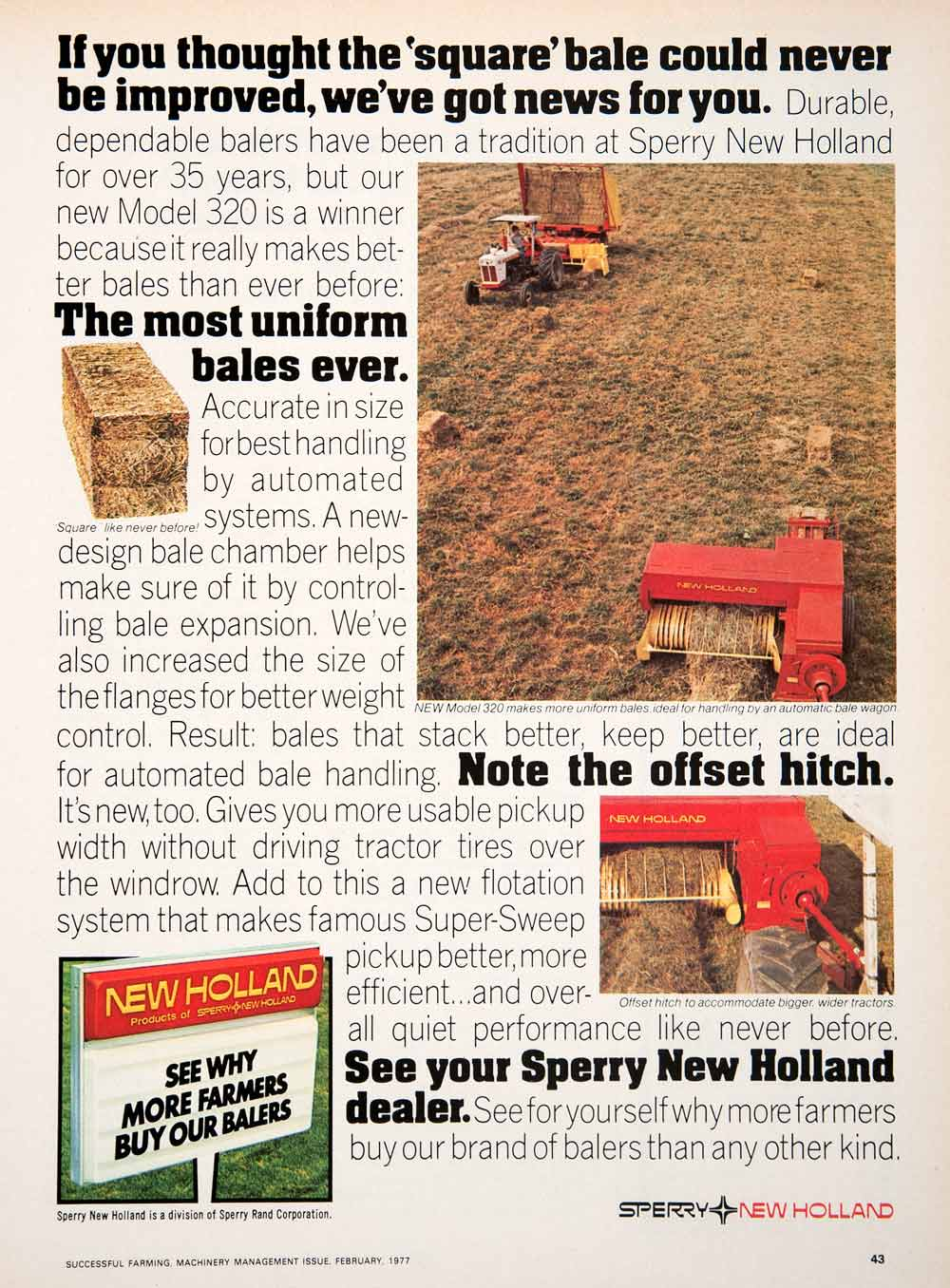 1977 Ad Sperry Holland Haying System Bale Farming Machinery Agriculture SF3