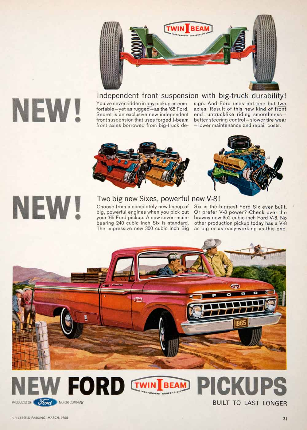 1965 Ad Ford Twin-I-Beam Pickup Truck Independent Suspension Aircraft Farm SF3