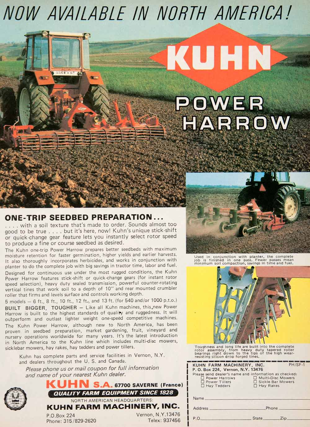 1980 Ad Kuhn Farm Equipment Machinery Agriculture Power Harrow Vernon New SF3