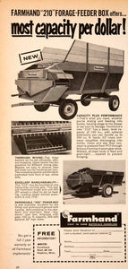 1964 Ad Farmhand Forage Feeder Box Farming Equipment Machinery Agriculture SF3
