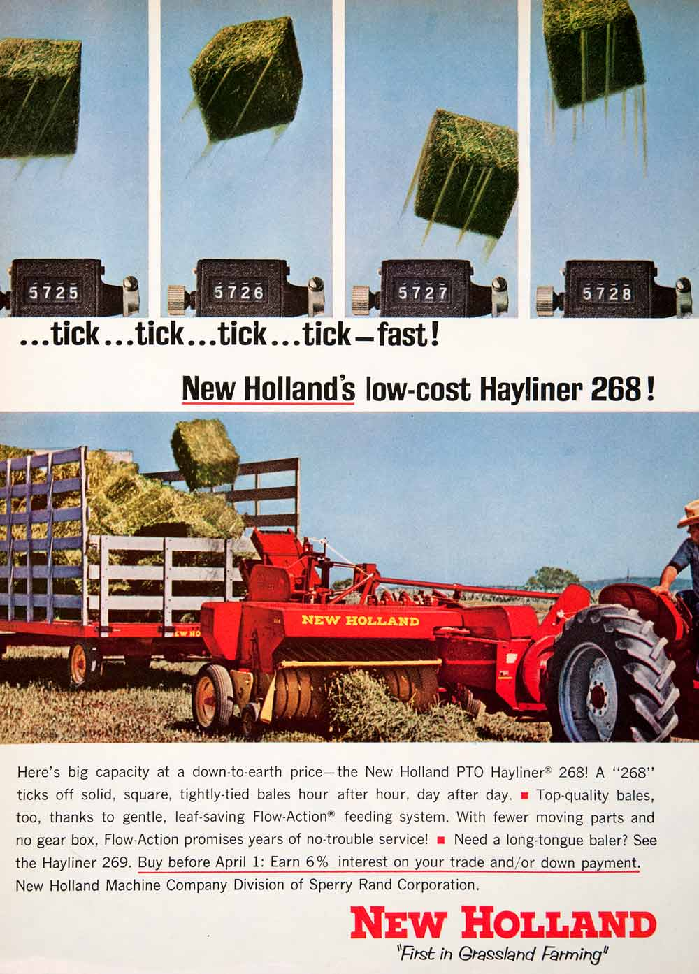 1965 Ad New Holland Sperry Rand Hay Bale Hayliner 268 Farming Agriculture SF4