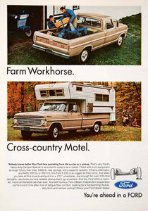 1967 Ad Ford Pickup Truck Camper Special Twin-I-Beam Camping Farming 300 Six SF4