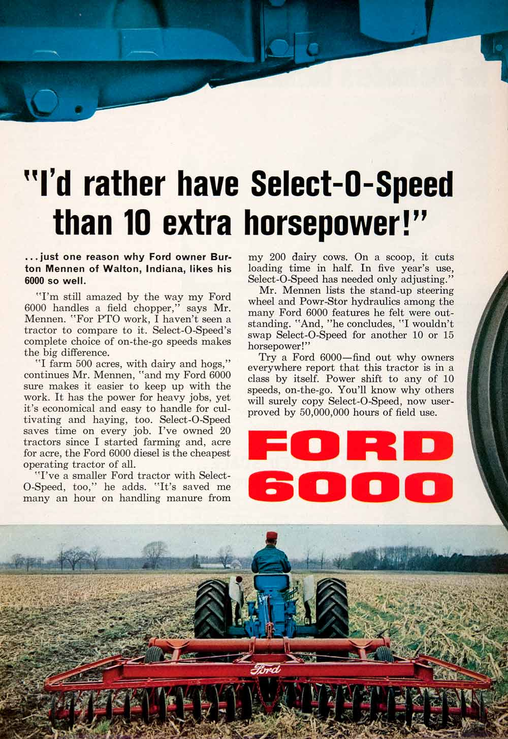 1964 Ad Ford 6000 Tractor Plow Burton Mennen Walton Indiana Agriculture SF4