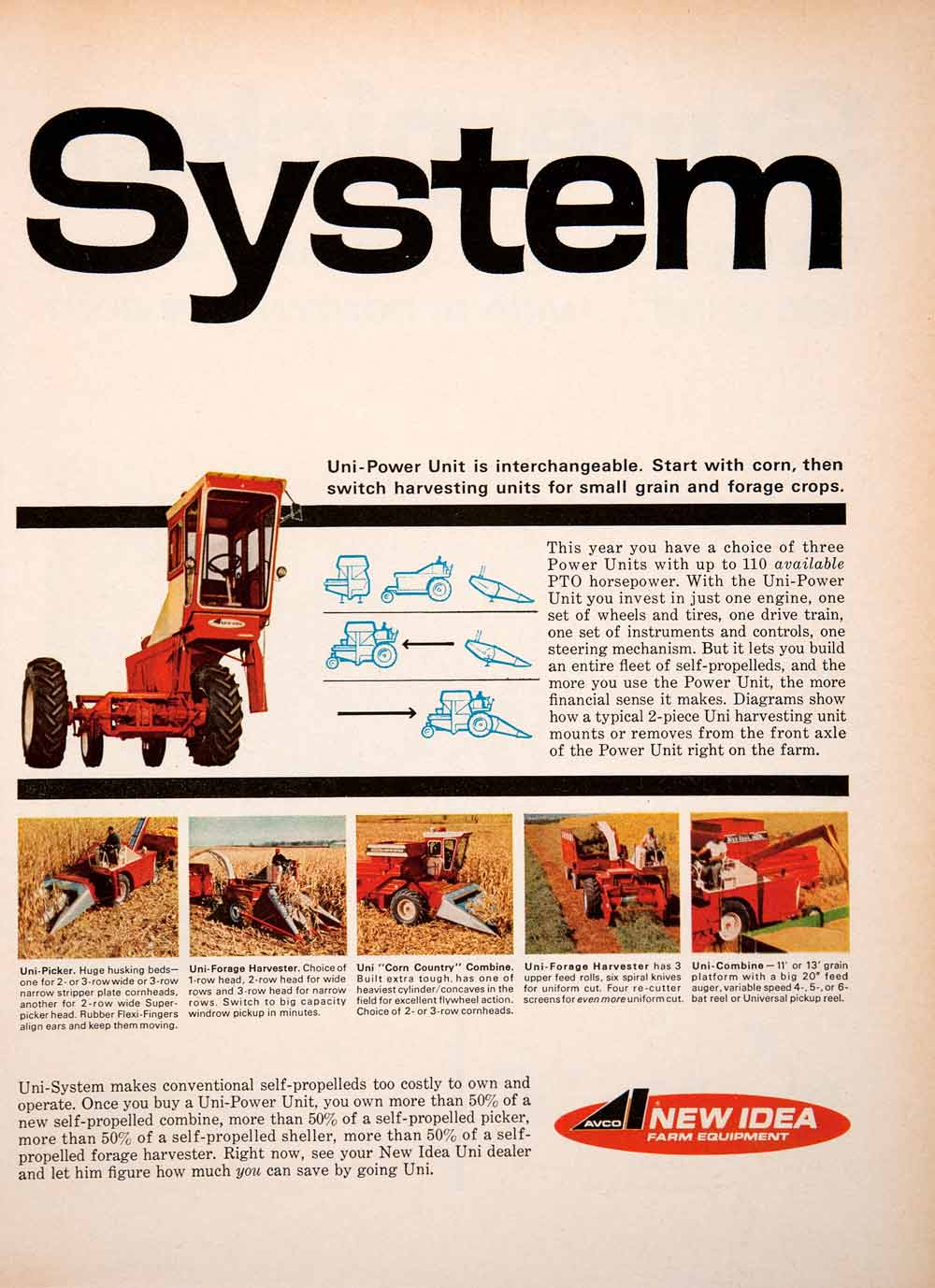 1967 Ad Uni-System New Idea Combine Harvester Agriculture Farm Machinery SF4