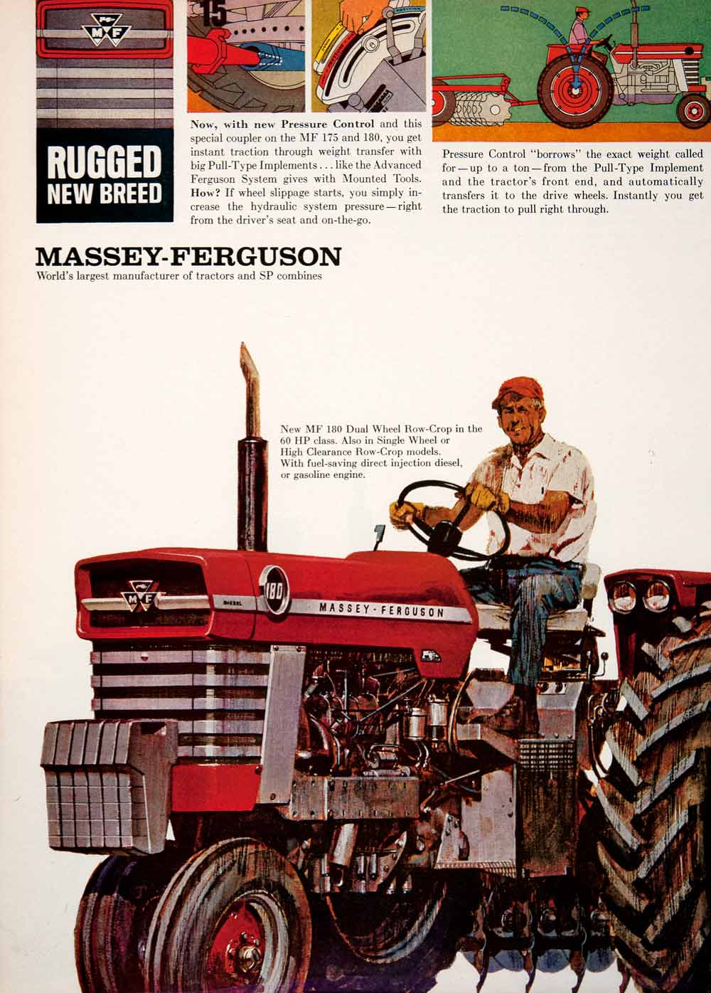 vintage advertising art tagged tractors farming period paper Massey Ferguson Compact Tractors 1965 ad massey ferguson tractor agriculture farming detroit michigan farmer sf4