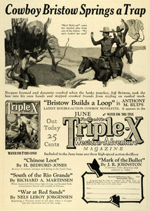 1927 Ad Cowboy Jeff Bristow Fawcetts Triple X Western Publication Anthony M SI1
