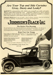 1920 Ad Johnson Black Lac Antique Car Maintenance Leather Convertible Top SI1