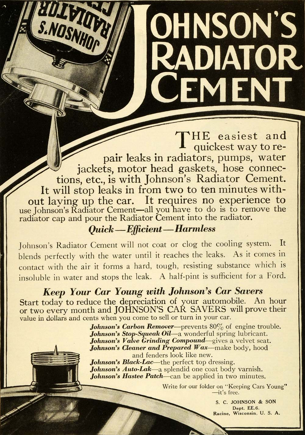 1920 Ad Johnson's Radiator Cement Racine Wisconsin Car Automobile Parts SI1