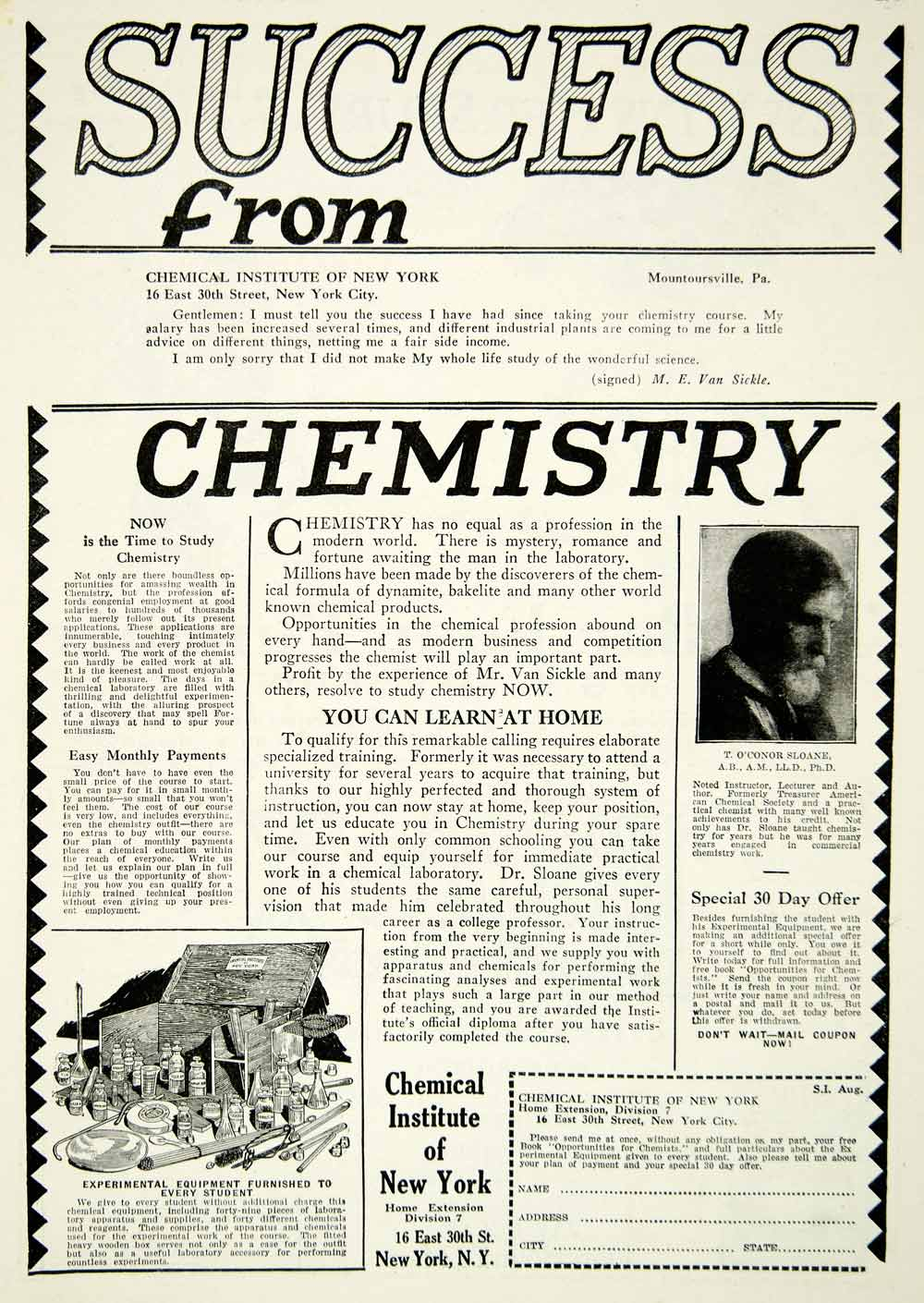 1927 Ad Chemical Institute New York Chemistry Learn Home T. O'Connor Sloane SI2