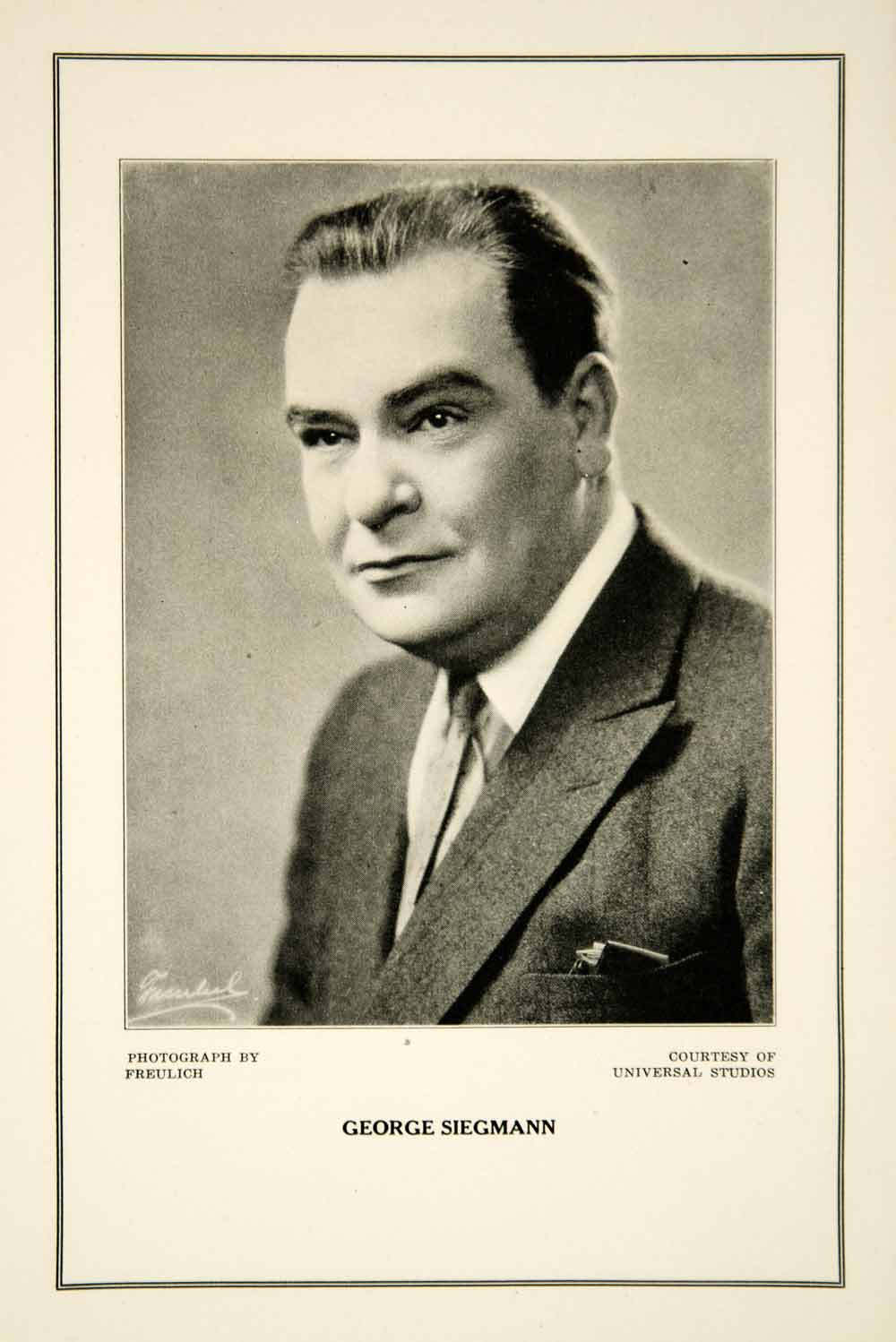 1927 Print George Siegmann Actor Silent Film Era Movie Motion Pictures Portrait