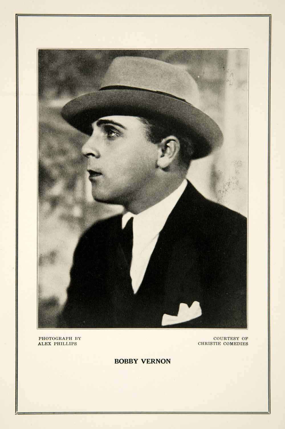 1927 Print Bobby Vernon Silent Film Comedian Hollywood Portrait Alex Phillips
