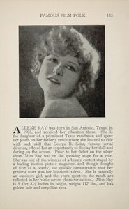 1925 Allene Ray Ethel Grey Terry Silent Film Actor - ORIGINAL HISTORIC IMAGE