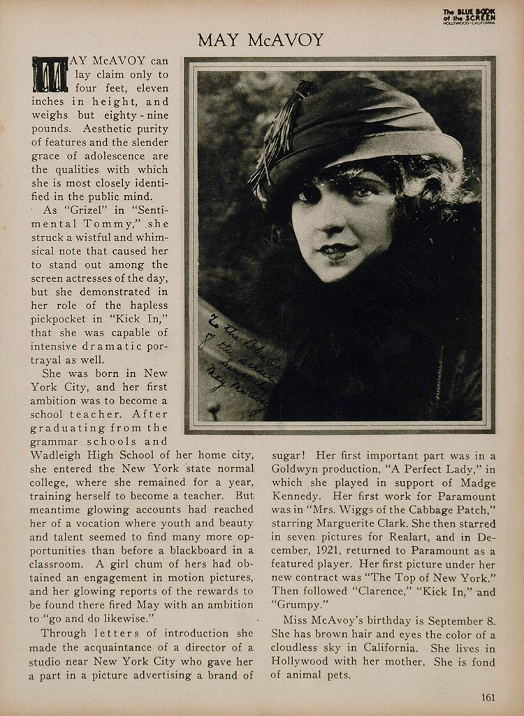 1923 May McAvoy Silent Film Actress Biography Print - ORIGINAL HISTORIC IMAGE