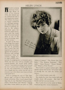 1923 Helen Lynch Silent Film Actress Biography Print - ORIGINAL HISTORIC IMAGE