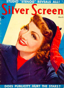 1938 Cover March Silver Screen Movie Film Actor Claudette Colbert Marland SILV1
