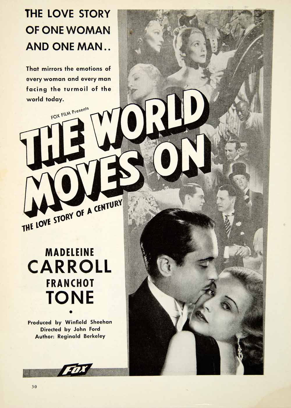 1934 Ad World Moves On Movie Film Madeleine Carroll Franchot Tone Actors SILV1