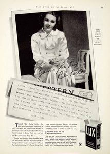1935 Ad Lux Laundry Detergent Portrait Ruby Keeler Actress Famous Soap SILV1