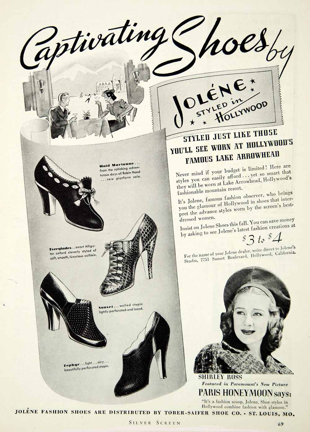 1938 Ad Jolene Shoes Hollywood Shirley Ross Fashion Paramount Tober-Saifer SILV1