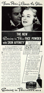 1938 Ad Evening Paris Powder Skin Affinity Portrait Woman Paris Bourjois SILV1