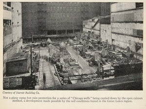 1928 Print Chicago Wells Caisson Method Construction - ORIGINAL HISTORIC SKY