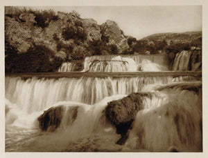 1926 Krka River Waterfalls Falls Slovania Photogravure - ORIGINAL SLAV1