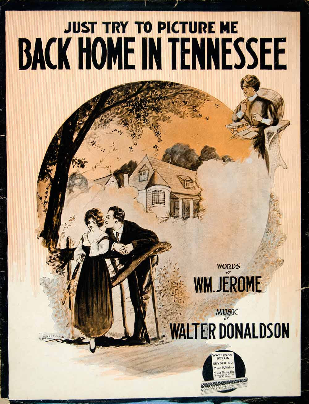 1915 Sheet Music Back Home Tennessee William Jerome Walter Donaldson Piano SM3 - Period Paper
