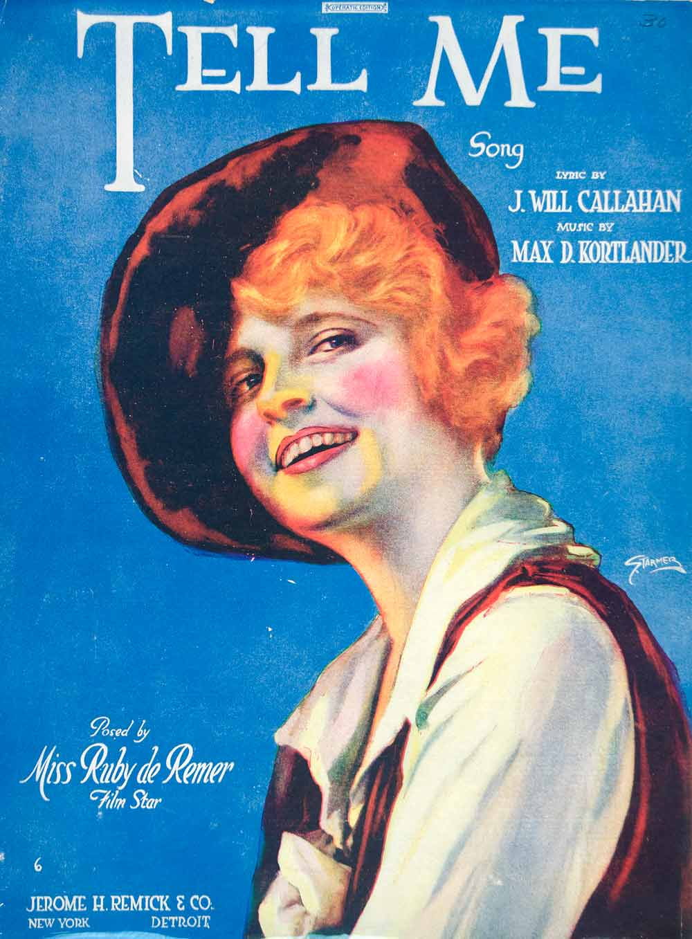1919 Sheet Music Tell Me William Austin Starmer Art Ruby De Remer Pose Film SM3