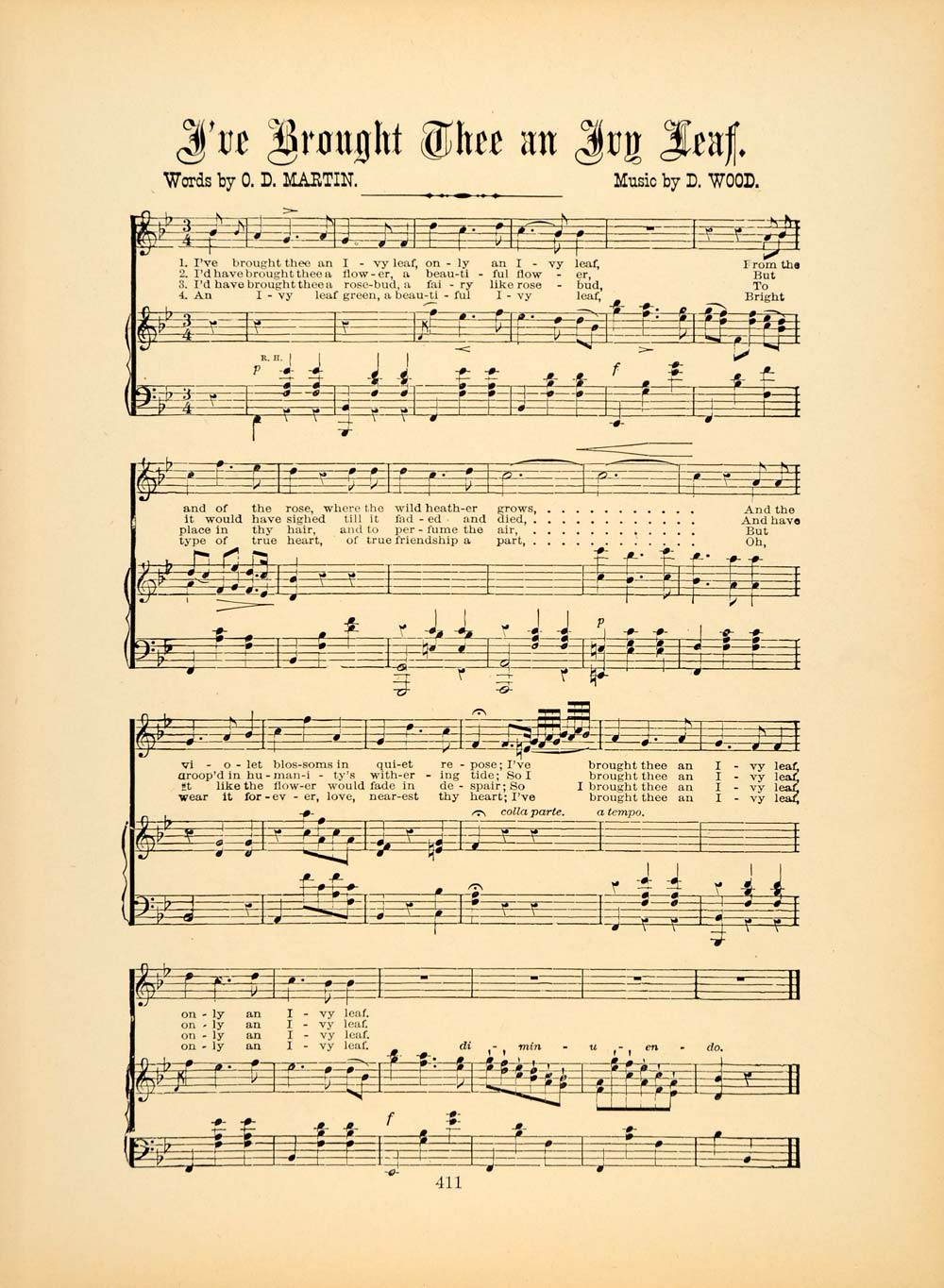 1894 I've Brought Thee an Ivy Leaf Song Sheet Music - ORIGINAL HISTORIC SND1