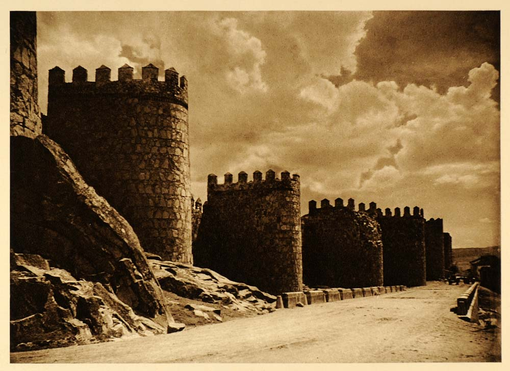 1925 Town Wall Avila Spain Kurt Hielscher Photogravure - ORIGINAL SP3
