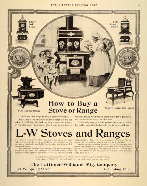 1907 Ad L-W Kitchen Stoves Ranges Lattimer Williams Silver Oak Black SP4